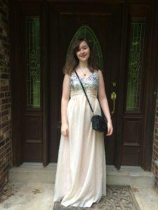 De in White and Silver Prom Dress